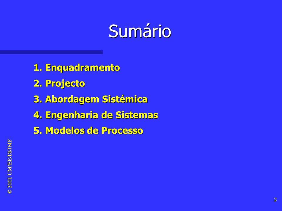 © 2001 UM/EE/DI/JMF 2 Sumário 1.Enquadramento 2. Projecto 3.