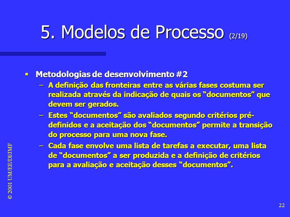 © 2001 UM/EE/DI/JMF 21 5. Modelos de Processo (1/19) Metodologias de desenvolvimento #1 Metodologias de desenvolvimento #1 –Qualquer processo de desen