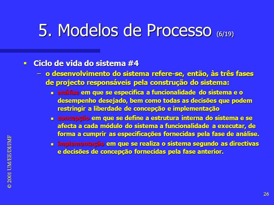 © 2001 UM/EE/DI/JMF 25 5. Modelos de Processo (5/19) Ciclo de vida do sistema #3 Ciclo de vida do sistema #3 –A fase de manutenção tem como objectivos