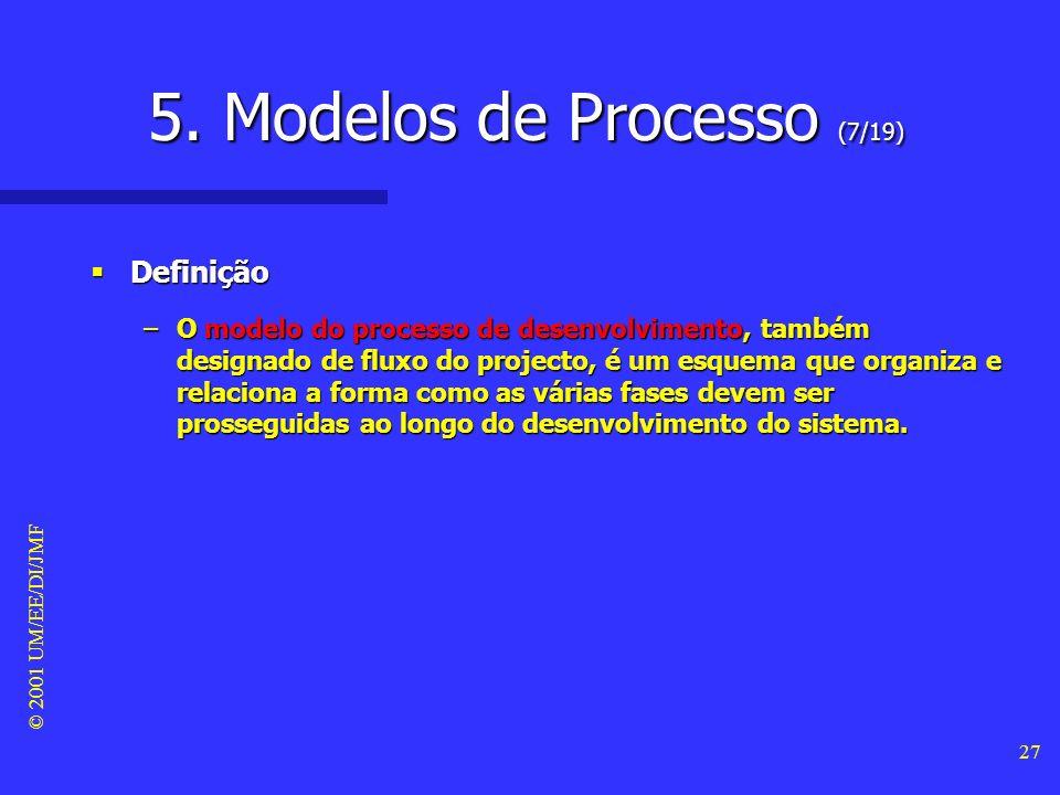 © 2001 UM/EE/DI/JMF 26 5. Modelos de Processo (6/19) Ciclo de vida do sistema #4 Ciclo de vida do sistema #4 –o desenvolvimento do sistema refere-se,