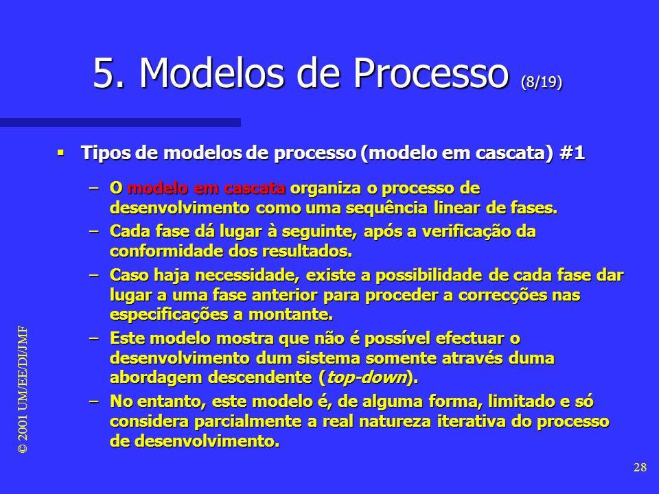 © 2001 UM/EE/DI/JMF 27 5. Modelos de Processo (7/19) Definição Definição –O modelo do processo de desenvolvimento, também designado de fluxo do projec
