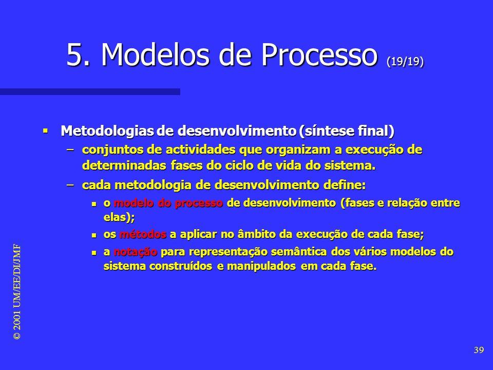 © 2001 UM/EE/DI/JMF 38 5. Modelos de Processo (18/19) Tipos de modelos de processo (modelo em espiral) #7 Tipos de modelos de processo (modelo em espi