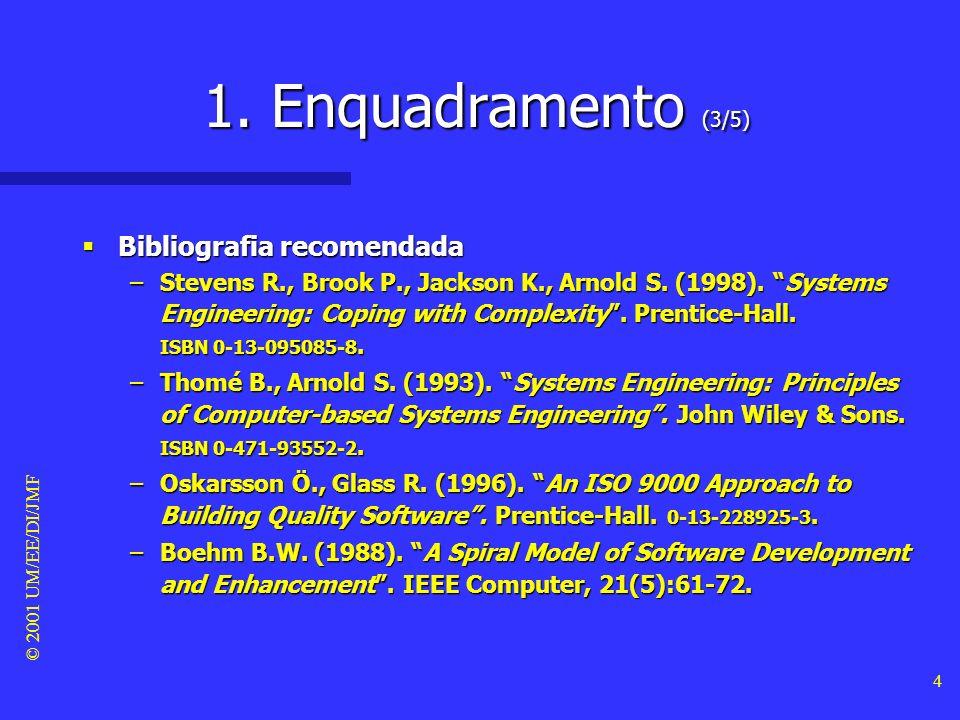 © 2001 UM/EE/DI/JMF 3 1. Enquadramento (2/5) Objectivos deste módulo Objectivos deste módulo –Definir projecto no âmbito do desenvolvimento de sistema