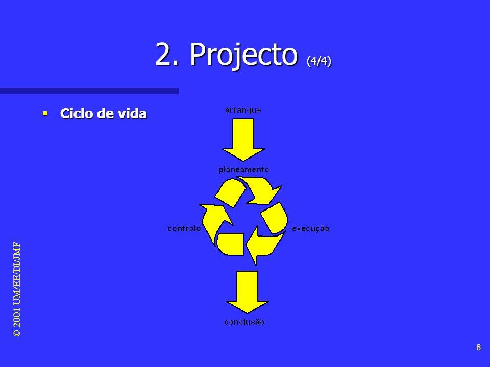 © 2001 UM/EE/DI/JMF 7 2. Projecto (3/4) Gestão do projecto Gestão do projecto –Aplicação de metodologias, técnicas e ferramentas nas várias fases do c