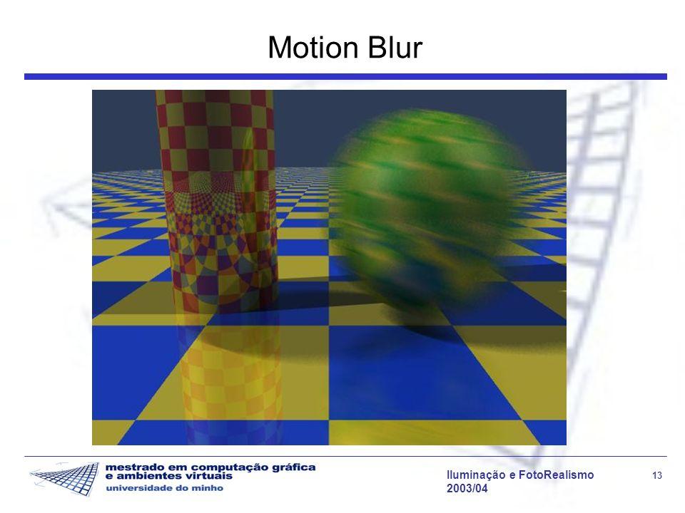 Iluminação e FotoRealismo 13 2003/04 Motion Blur