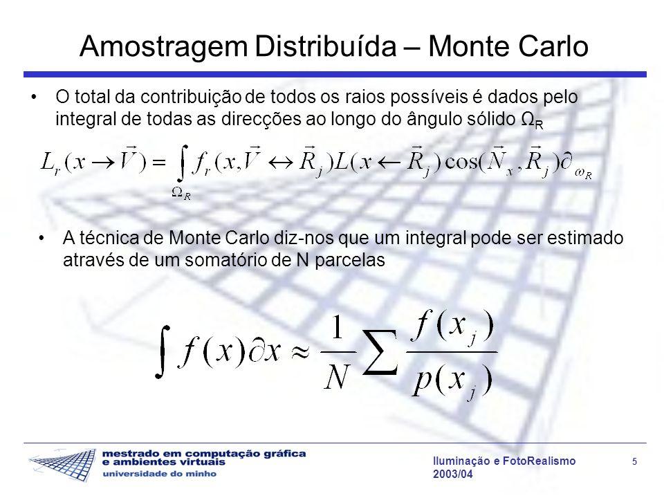 Iluminação e FotoRealismo 5 2003/04 Amostragem Distribuída – Monte Carlo O total da contribuição de todos os raios possíveis é dados pelo integral de todas as direcções ao longo do ângulo sólido Ω R A técnica de Monte Carlo diz-nos que um integral pode ser estimado através de um somatório de N parcelas