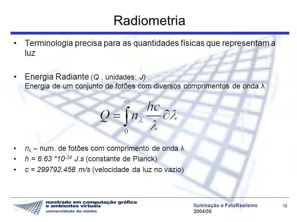 Iluminação e FotoRealismo 12 2004/05 Radiometria Terminologia precisa para as quantidades físicas que representam a luz Energia Radiante (Q, unidades: