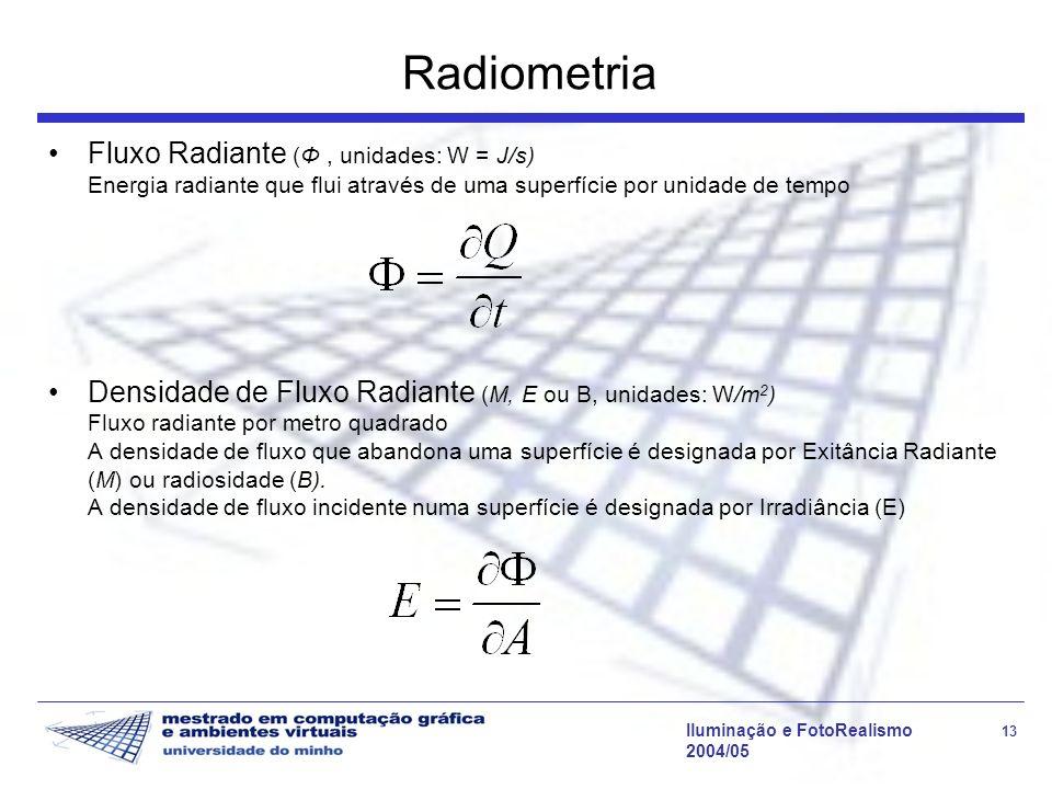 Iluminação e FotoRealismo 13 2004/05 Radiometria Fluxo Radiante (Φ, unidades: W = J/s) Energia radiante que flui através de uma superfície por unidade