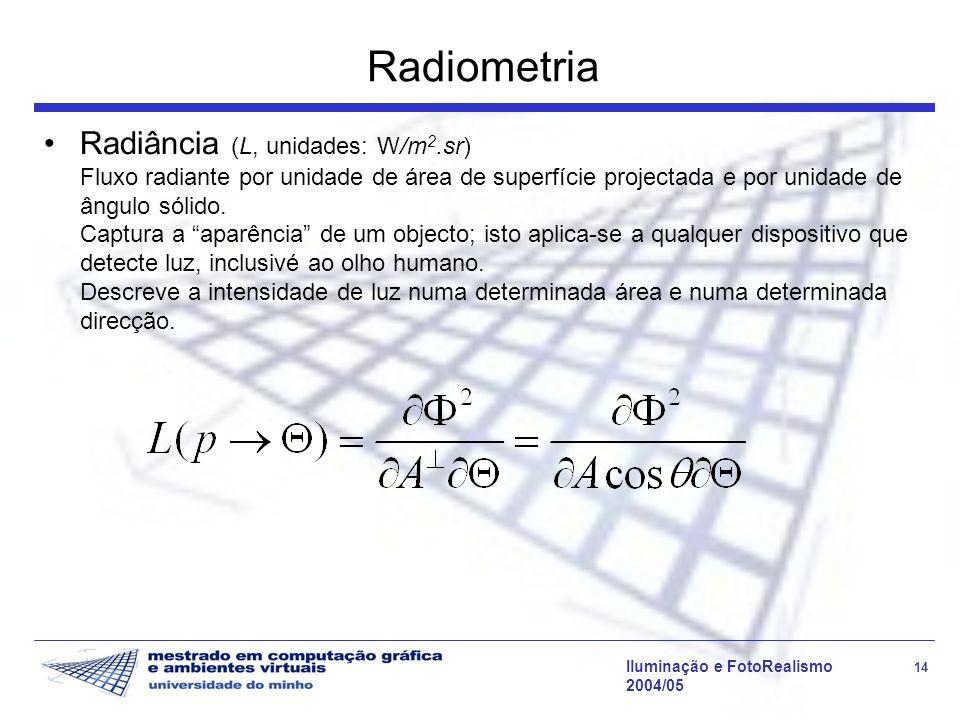 Iluminação e FotoRealismo 14 2004/05 Radiometria Radiância (L, unidades: W/m 2.sr) Fluxo radiante por unidade de área de superfície projectada e por u