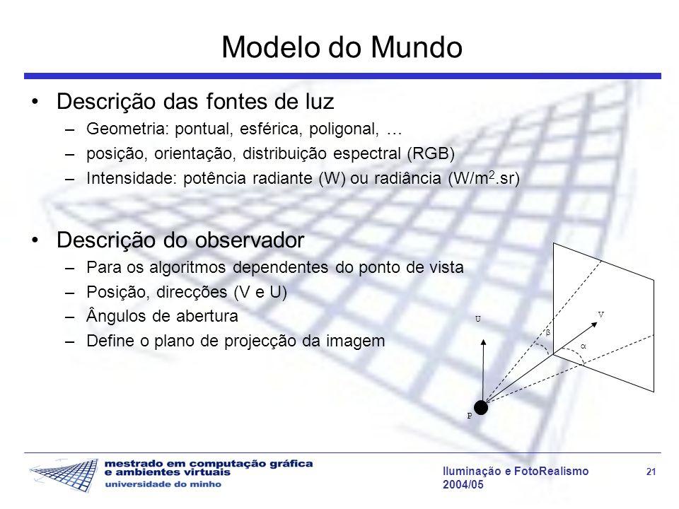 Iluminação e FotoRealismo 21 2004/05 Modelo do Mundo Descrição das fontes de luz –Geometria: pontual, esférica, poligonal, … –posição, orientação, dis