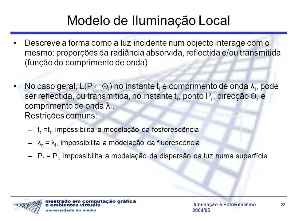Iluminação e FotoRealismo 22 2004/05 Modelo de Iluminação Local Descreve a forma como a luz incidente num objecto interage com o mesmo: proporções da