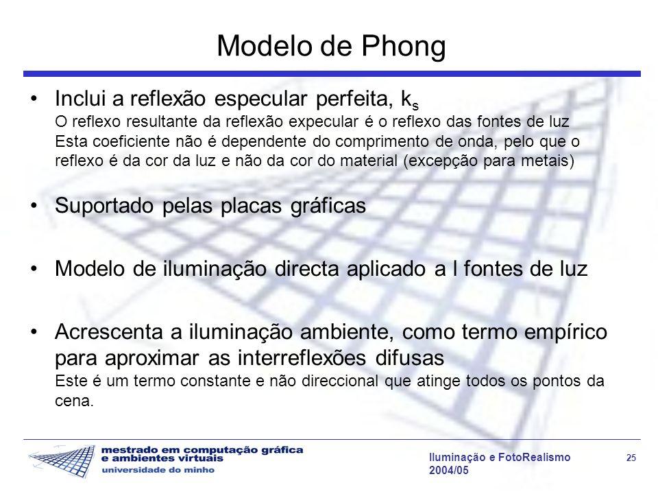 Iluminação e FotoRealismo 25 2004/05 Modelo de Phong Inclui a reflexão especular perfeita, k s O reflexo resultante da reflexão expecular é o reflexo