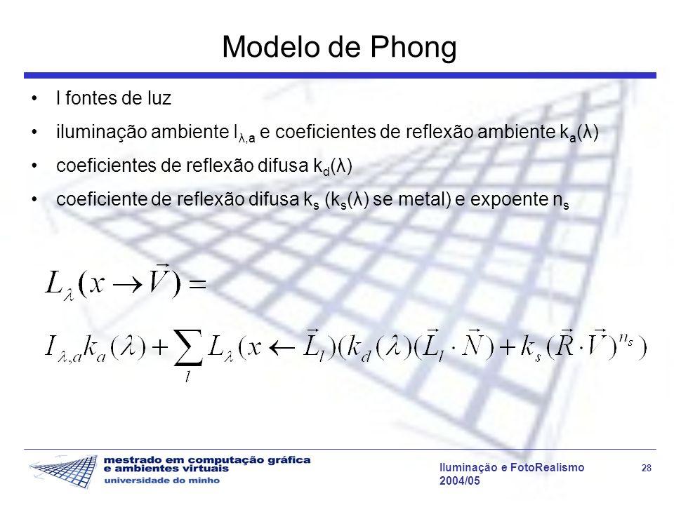 Iluminação e FotoRealismo 28 2004/05 Modelo de Phong l fontes de luz iluminação ambiente I λ,a e coeficientes de reflexão ambiente k a (λ) coeficiente