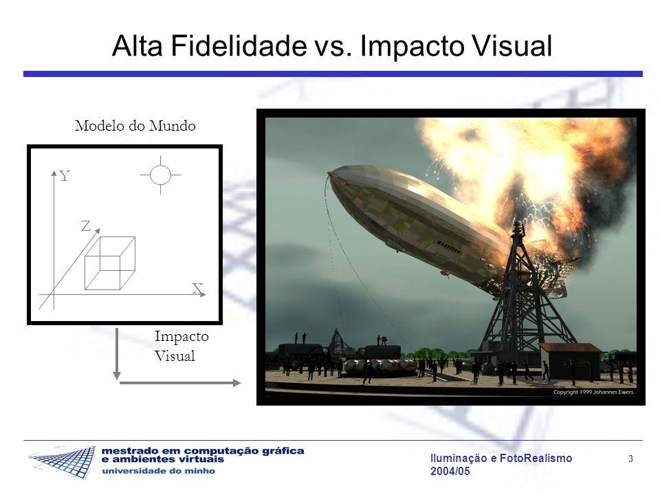 Iluminação e FotoRealismo 34 2004/05 Visualização da Imagem A imagem apresentada ao utilizador deve ser indistinguível da observação da cena real Um algoritmo de iluminação global produz um mapa bidimensional de radiâncias (luminâncias); números reais cujo intervalo de valores pode ser muito amplo [10 -5..