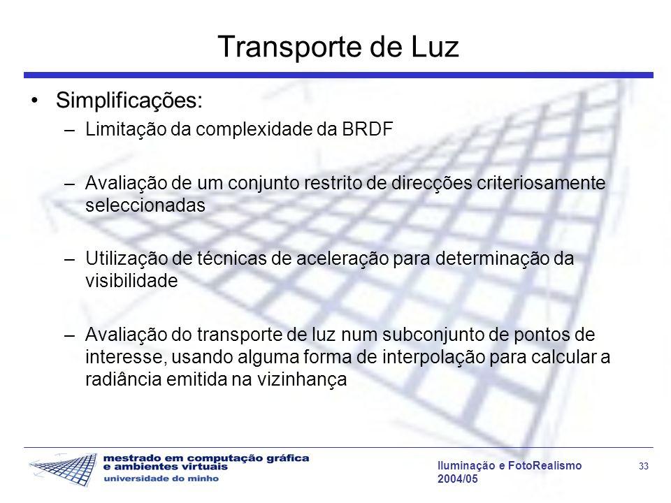 Iluminação e FotoRealismo 33 2004/05 Transporte de Luz Simplificações: –Limitação da complexidade da BRDF –Avaliação de um conjunto restrito de direcç