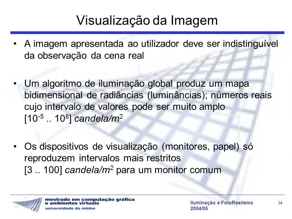 Iluminação e FotoRealismo 34 2004/05 Visualização da Imagem A imagem apresentada ao utilizador deve ser indistinguível da observação da cena real Um a