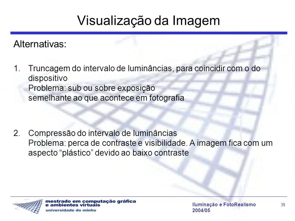Iluminação e FotoRealismo 35 2004/05 Visualização da Imagem Alternativas: 1.Truncagem do intervalo de luminâncias, para coincidir com o do dispositivo