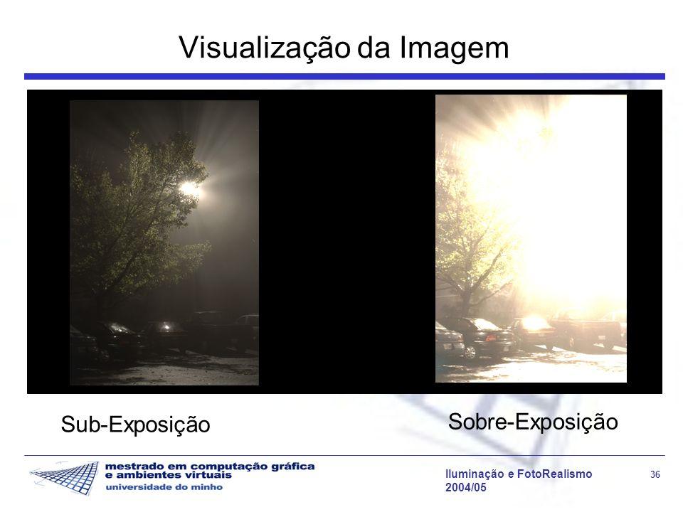 Iluminação e FotoRealismo 36 2004/05 Visualização da Imagem Sub-Exposição Sobre-Exposição
