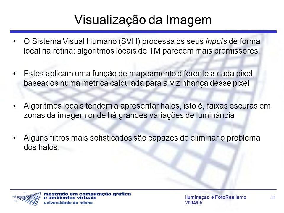 Iluminação e FotoRealismo 38 2004/05 Visualização da Imagem O Sistema Visual Humano (SVH) processa os seus inputs de forma local na retina: algoritmos
