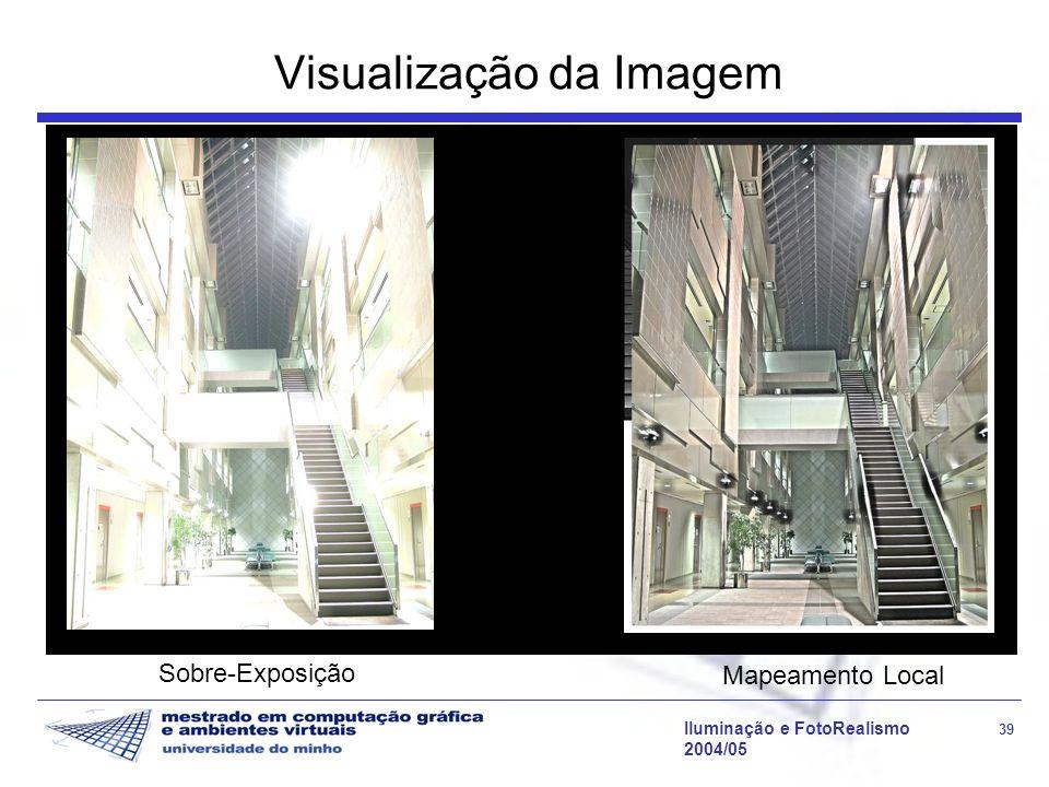 Iluminação e FotoRealismo 39 2004/05 Visualização da Imagem Sobre-Exposição Mapeamento Local