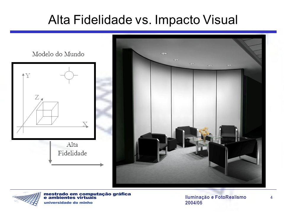 Iluminação e FotoRealismo 25 2004/05 Modelo de Phong Inclui a reflexão especular perfeita, k s O reflexo resultante da reflexão expecular é o reflexo das fontes de luz Esta coeficiente não é dependente do comprimento de onda, pelo que o reflexo é da cor da luz e não da cor do material (excepção para metais) Suportado pelas placas gráficas Modelo de iluminação directa aplicado a l fontes de luz Acrescenta a iluminação ambiente, como termo empírico para aproximar as interreflexões difusas Este é um termo constante e não direccional que atinge todos os pontos da cena.