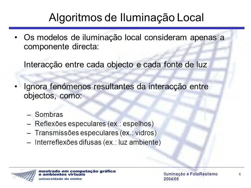 Iluminação e FotoRealismo 27 2004/05 Modelo de Phong L N R V Direcções no modelo de Phong L N R n s =10,20,30 Variação da radiância reflectida com V, para uma direcção de incidência L e vários n s