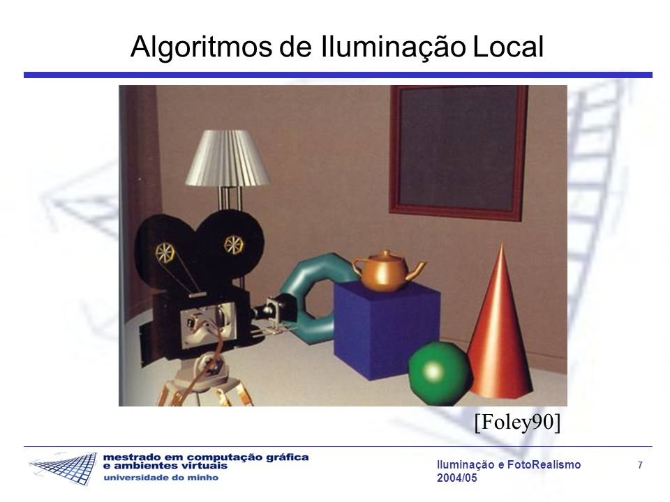Iluminação e FotoRealismo 8 2004/05 Algoritmos de Iluminação Global Na iluminação de cada ponto é incluída, além da componente directa, a luz reflectida ou transmitida por outros objectos que não as fontes de luz.