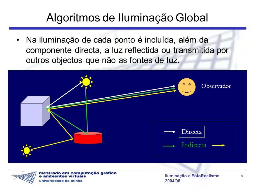Iluminação e FotoRealismo 29 2004/05 Modelo de Phong Modelo empírico: não é uma representação correcta nem precisa da realidade Muitas imagens emitem mais energia do que a recebida pela cena A iluminação ambiente é uma aproximação simplista das interreflexões difusas: a primeira é modelada como constante e não direccional, enquanto a última varia ao longo da cena, embora de forma suave