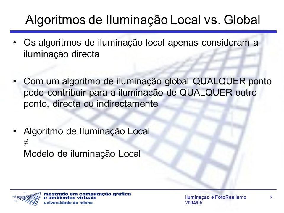 Iluminação e FotoRealismo 9 2004/05 Algoritmos de Iluminação Local vs. Global Os algoritmos de iluminação local apenas consideram a iluminação directa