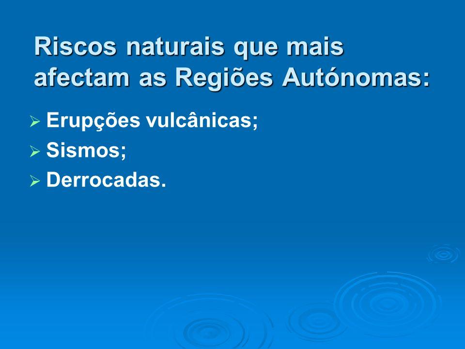 Erupções vulcânicas; Sismos; Derrocadas. Riscos naturais que mais afectam as Regiões Autónomas: