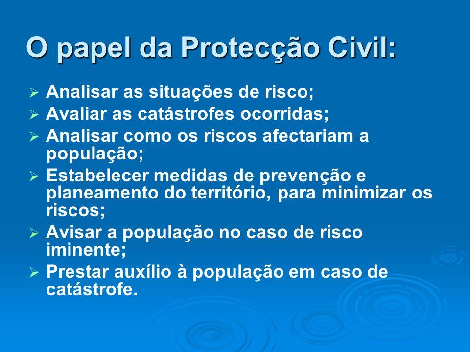 O papel da Protecção Civil: Analisar as situações de risco; Avaliar as catástrofes ocorridas; Analisar como os riscos afectariam a população; Estabele