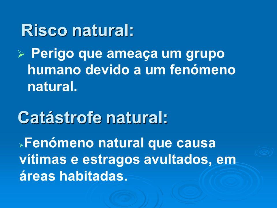 Risco natural: Perigo que ameaça um grupo humano devido a um fenómeno natural. Catástrofe natural: Fenómeno natural que causa vítimas e estragos avult