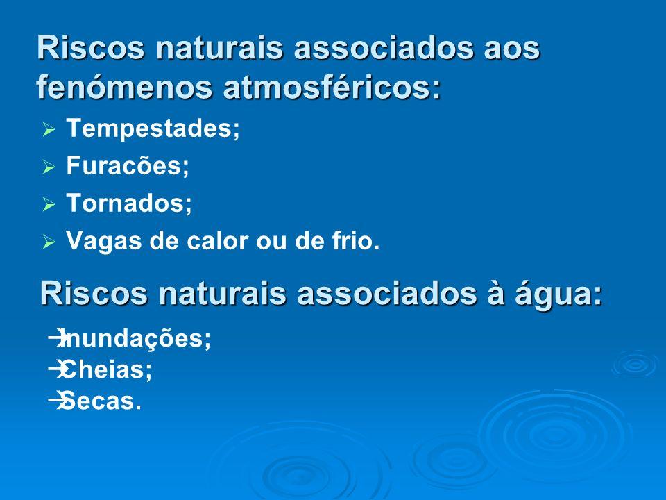 Riscos naturais associados aos fenómenos atmosféricos: Tempestades; Furacões; Tornados; Vagas de calor ou de frio. Riscos naturais associados à água: