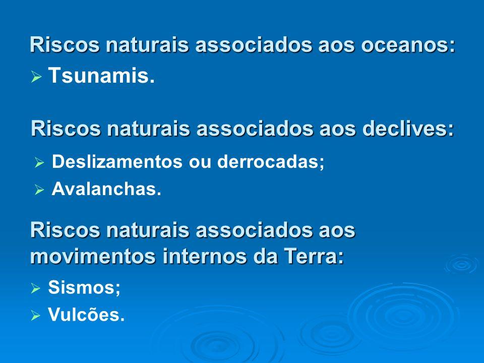 Riscos naturais associados aos oceanos: Tsunamis. Riscos naturais associados aos declives: Deslizamentos ou derrocadas; Avalanchas. Riscos naturais as