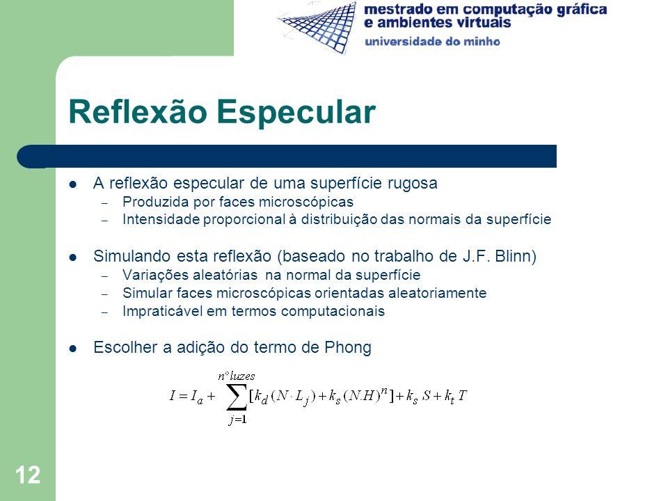 12 Reflexão Especular A reflexão especular de uma superfície rugosa – Produzida por faces microscópicas – Intensidade proporcional à distribuição das