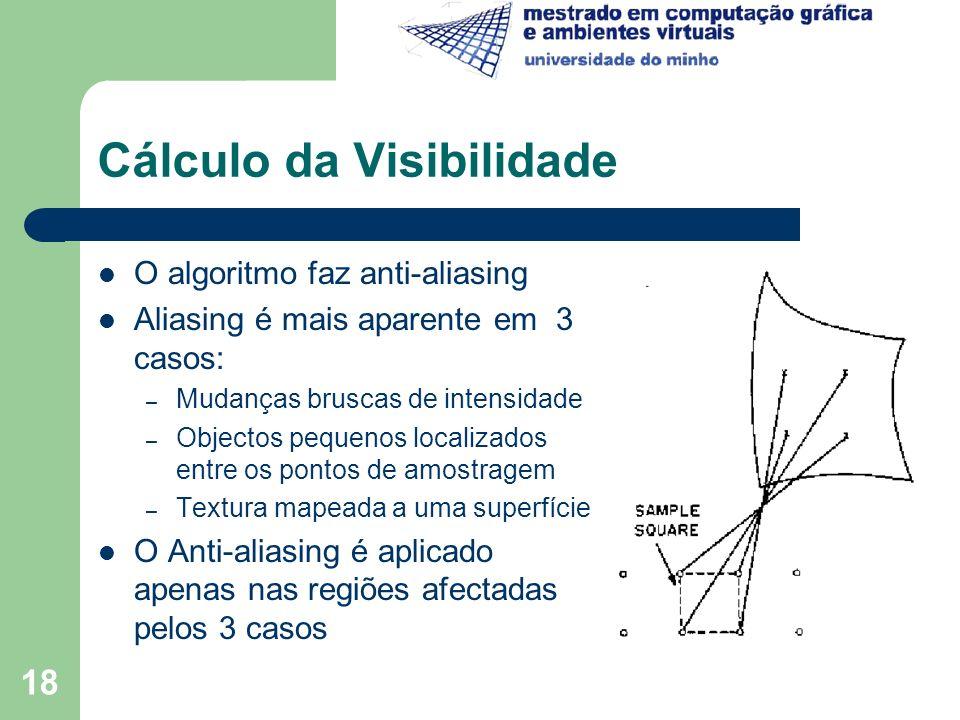 18 Cálculo da Visibilidade O algoritmo faz anti-aliasing Aliasing é mais aparente em 3 casos: – Mudanças bruscas de intensidade – Objectos pequenos lo