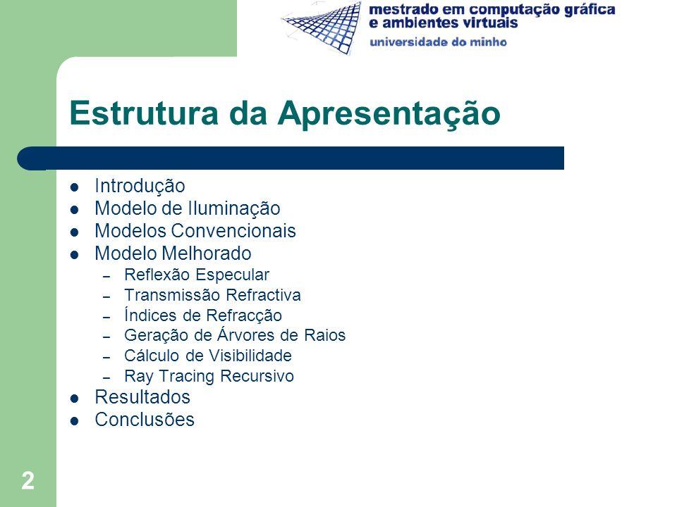 2 Estrutura da Apresentação Introdução Modelo de Iluminação Modelos Convencionais Modelo Melhorado – Reflexão Especular – Transmissão Refractiva – Índ