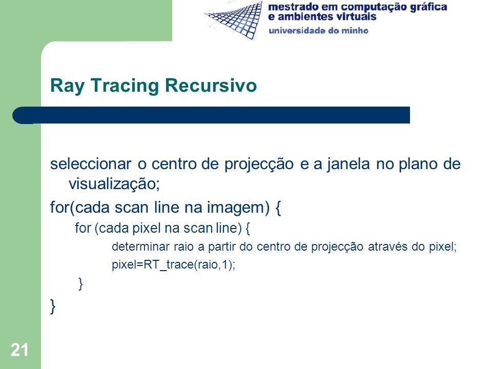 21 Ray Tracing Recursivo seleccionar o centro de projecção e a janela no plano de visualização; for(cada scan line na imagem) { for (cada pixel na sca