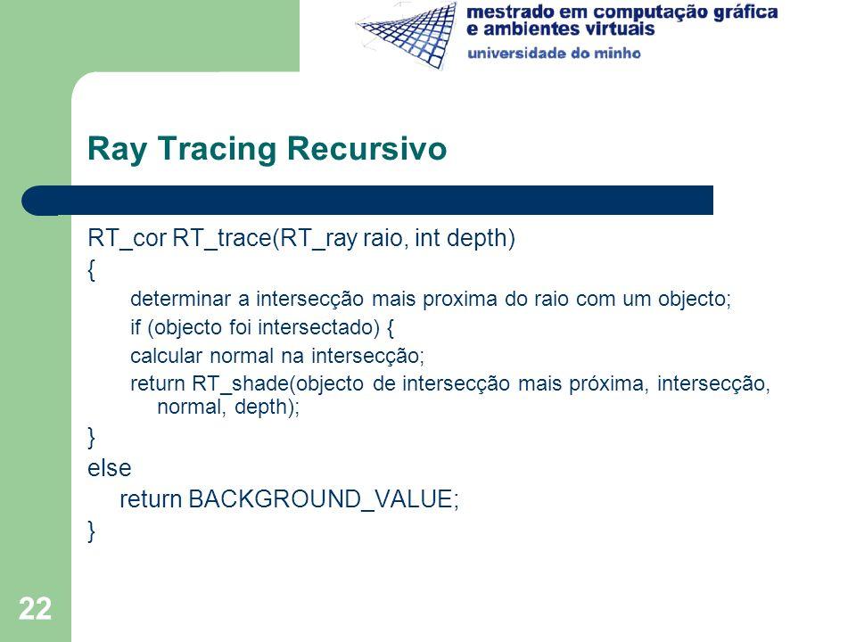 22 Ray Tracing Recursivo RT_cor RT_trace(RT_ray raio, int depth) { determinar a intersecção mais proxima do raio com um objecto; if (objecto foi inter