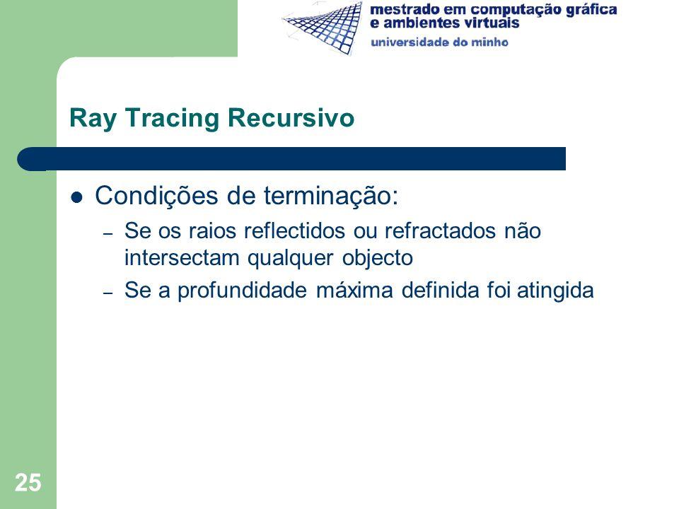 25 Ray Tracing Recursivo Condições de terminação: – Se os raios reflectidos ou refractados não intersectam qualquer objecto – Se a profundidade máxima