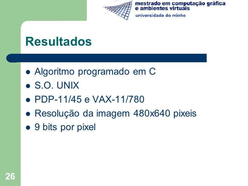 26 Resultados Algoritmo programado em C S.O. UNIX PDP-11/45 e VAX-11/780 Resolução da imagem 480x640 pixeis 9 bits por pixel