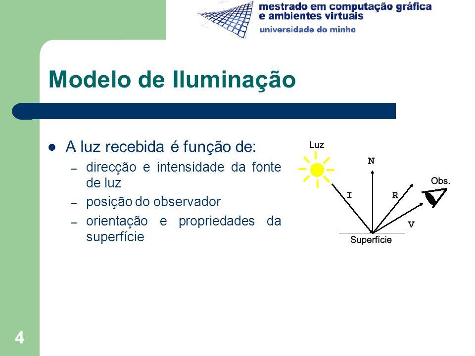 4 Modelo de Iluminação A luz recebida é função de: – direcção e intensidade da fonte de luz – posição do observador – orientação e propriedades da sup