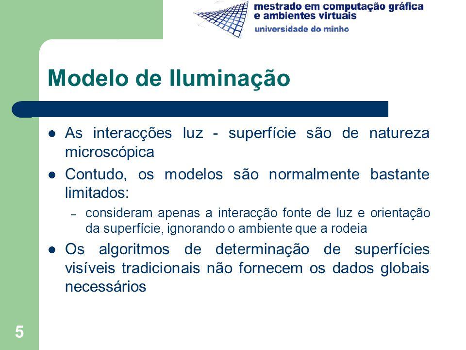 6 Modelos Convencionais Reflexão Difusa – Os difusores ideais comportam-se de acordo com a Lei de Lambert (do coseno) a luz reflectida, por uma pequena superfície é determinada pelo co-seno do ângulo entre a normal à superfície e a direcção da luz – As superfícies reflectem luz com igual intensidade em todas as direcções surgem igualmente brilhantes a partir de todos os pontos de vista I = I p *k d * (N.L) = I p *k d *cos