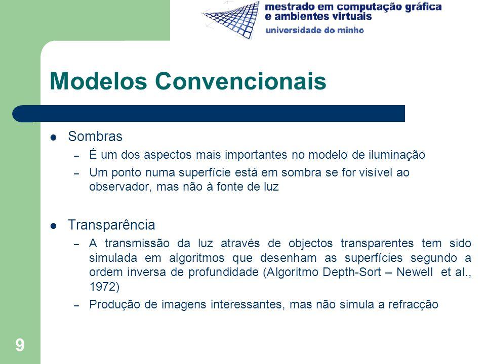 9 Modelos Convencionais Sombras – É um dos aspectos mais importantes no modelo de iluminação – Um ponto numa superfície está em sombra se for visível