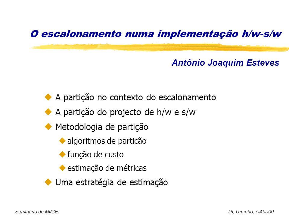 O escalonamento numa implementação h/w-s/w u A partição no contexto do escalonamento u A partição do projecto de h/w e s/w u Metodologia de partição ualgoritmos de partição ufunção de custo uestimação de métricas u Uma estratégia de estimação Seminário de MI/CEIDI, Uminho, 7-Abr-00 António Joaquim Esteves