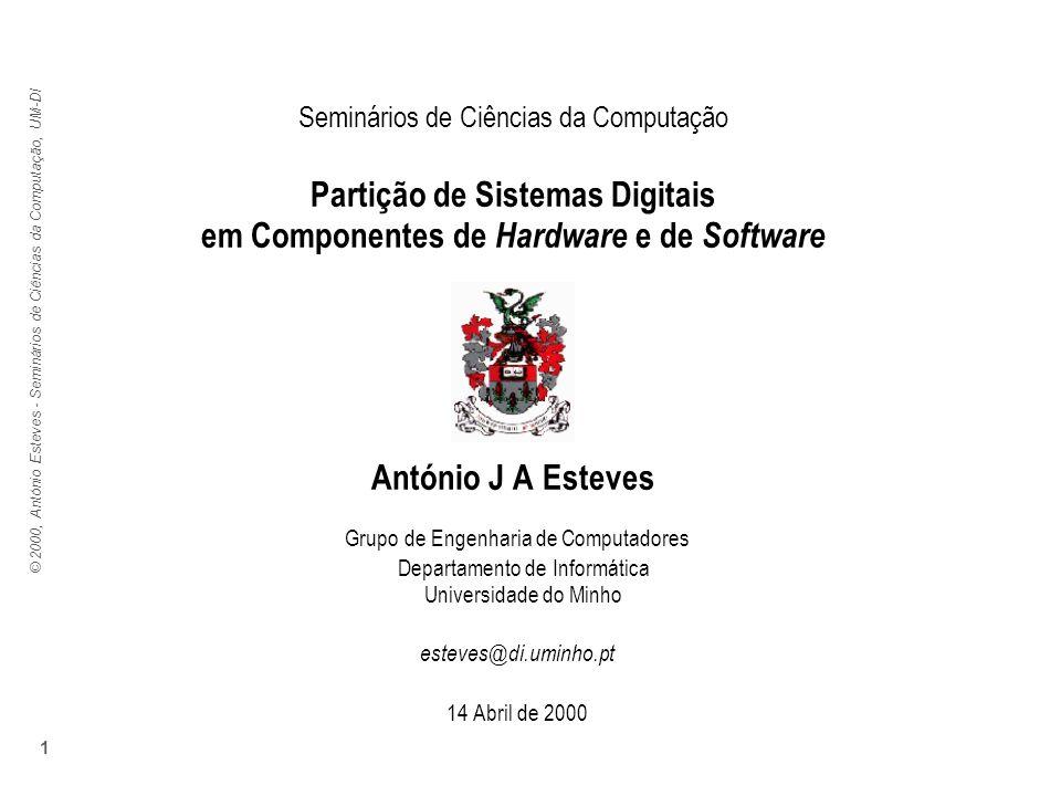 © 2000, António Esteves - Seminários de Ciências da Computação, UM-DI 1 Seminários de Ciências da Computação Partição de Sistemas Digitais em Componen