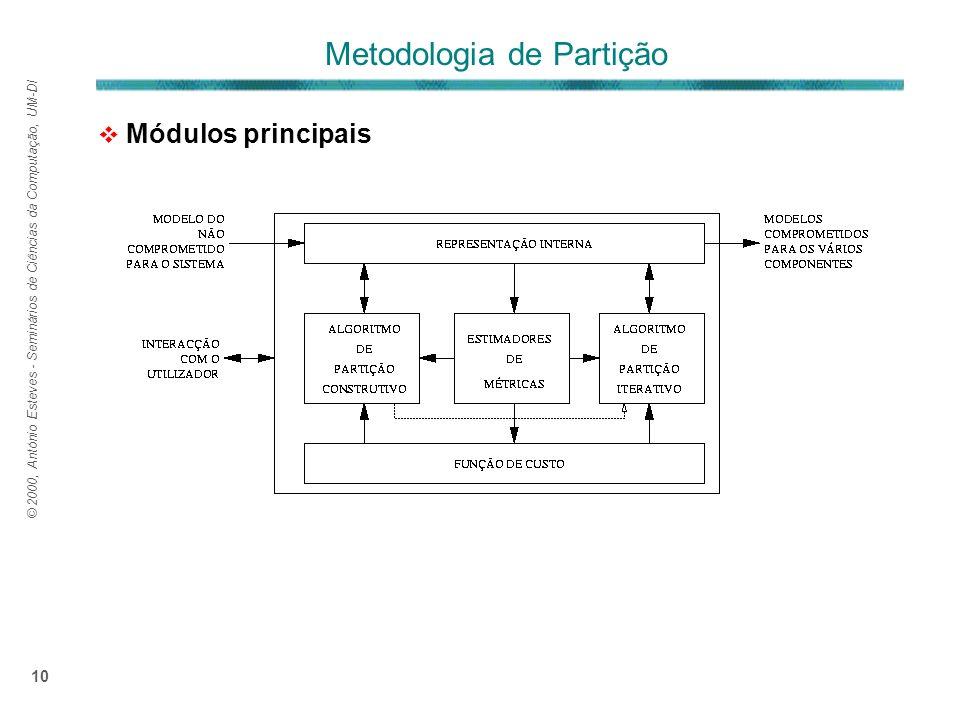 © 2000, António Esteves - Seminários de Ciências da Computação, UM-DI 10 Módulos principais Metodologia de Partição