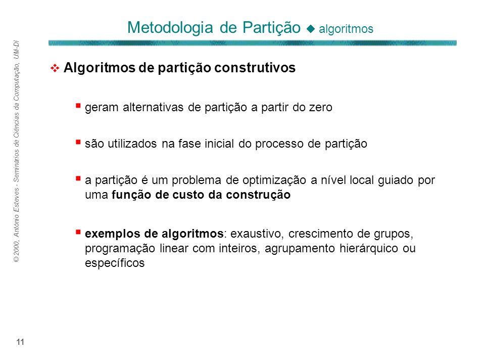 © 2000, António Esteves - Seminários de Ciências da Computação, UM-DI 11 Algoritmos de partição construtivos geram alternativas de partição a partir d