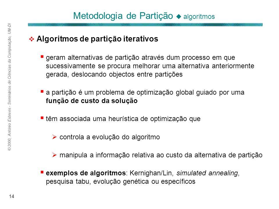 © 2000, António Esteves - Seminários de Ciências da Computação, UM-DI 14 Algoritmos de partição iterativos geram alternativas de partição através dum