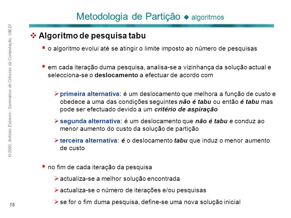 © 2000, António Esteves - Seminários de Ciências da Computação, UM-DI 15 Algoritmo de pesquisa tabu o algoritmo evolui até se atingir o limite imposto ao número de pesquisas em cada iteração duma pesquisa, analisa-se a vizinhança da solução actual e selecciona-se o deslocamento a efectuar de acordo com primeira alternativa: é um deslocamento que melhora a função de custo e obedece a uma das condições seguintes não é tabu ou então é tabu mas pode ser efectuado devido a um critério de aspiração segunda alternativa: é um deslocamento que não é tabu e conduz ao menor aumento do custo da solução de partição terceira alternativa: é o deslocamento tabu que induz o menor aumento de custo no fim de cada iteração da pesquisa actualiza-se a melhor solução encontrada actualiza-se o número de iterações e/ou pesquisas se for o fim duma pesquisa, define-se uma nova solução inicial Metodologia de Partição algoritmos